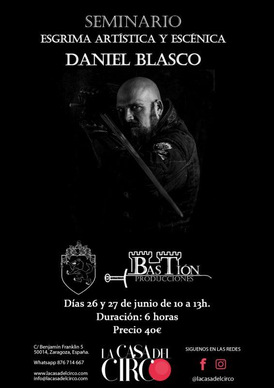 Cartel Seminario esgrima artística de Daniel Blasco en La Casa del Circo